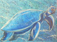 Blue Sea Turtle by Gail Cleveland30×40 Acrylic $2000.00 + tax and S&H