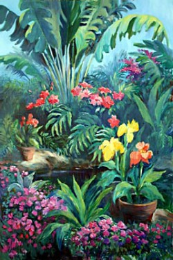 SOLD Garden Pond by Wini Smart24x36 oil