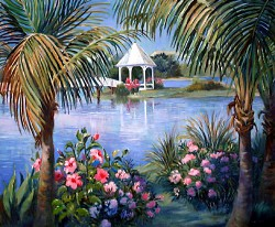 SOLD Gazebo by Wini Smart30x36 oil $3600.00 + tax and S&H