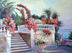 """French Garden by Wini Smart30"""" x 36"""" oil, $3400.00 + tax and S&H"""
