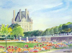 """Garden by the Louvre' by Wini Smart18"""" x 23"""" watercolor, $1200.00 + tax and S&H"""