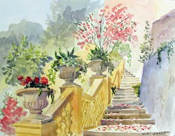 """Italian Steps by Wini Smart18"""" x 23"""" watercolor, $1100.00 + tax and S&H"""