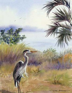 """Lone Heron by Wini Smart16"""" x 20"""" watercolor, $1800.00 + tax and S&H"""