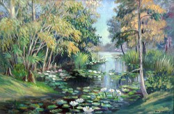 """Lotus Stream by Wini Smart24"""" x 36"""" oil, $3800.00 + tax and S&H"""