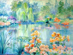 """Monet's Pond and Azaleas by Wini Smart30"""" x 40"""" watercolor, $3200.00 + tax and S&H"""