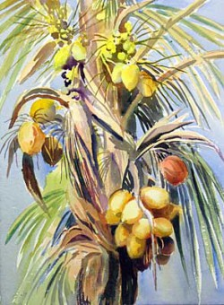 """Prolific Palm by Wini Smart16"""" x 20"""" watercolor $1800.00 + tax and S&H"""