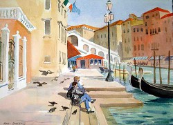 """Rialto Tourists by Wini Smart11"""" x 15"""" watercolor, framed 17"""" x 21"""", $1200.00 + tax and S&H"""