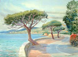 """Riviera Road by Wini Smart23"""" x 28"""" watercolor, $950.00 + tax and S&H"""