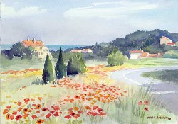 """Road to St. Tropez by Wini Smart18"""" x 23"""" watercolor, $900.00 + tax and S&H"""