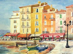 """St. Tropez by Wini Smart18"""" x 23"""" watercolor, $1300.00 + tax and S&H"""