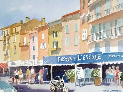 """St. Tropaz cafe by Wini Smart18"""" x 23"""" watercolor, $1300.00 + tax and S&H"""