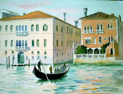 """The Traghetti by Wini Smart11"""" x 15"""" watercolor, framed 17"""" x 21"""". $1175.00 + tax and S&H"""