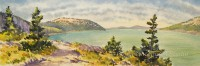 Atop Flying Mount by Gail Cleveland| Water Color 22x58 $3000