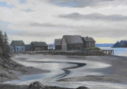 """Bass Harbor Buildings by Wini Smart18""""x24"""" Oil $1800  + tax and S&H"""