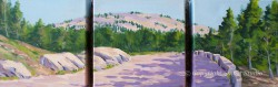 Carriage Path by Gail Cleveland | Acrylic Triptych 6x18in $550