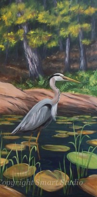 Great Blue Heron  by Gail Cleveland | Original Acrylic 24x48 $2500