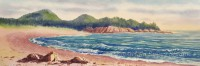 Jasper Beach by Gail Cleveland| Water Color 8x22 $950