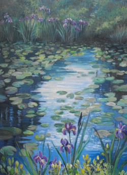 """Lily Pond Reflections by Wini Smart30"""" x40""""  Oil $4400  + tax and S&H"""