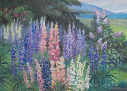 """Lupine and Lilacs by Wini Smart30""""x40"""" Oil $4200  + tax and S&H"""