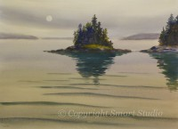 Moonlight, Seal Harbor by Gail Cleveland | Water Color  22x30 $3200