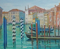 """Mooring Poles, Venice by Wini Smart30"""" x 36"""" oil, $3800.00 + tax and S&H"""