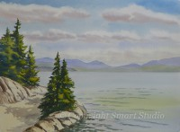 Moosehead Lake Vista by Gail Cleveland | Water Color 22x30 $2200