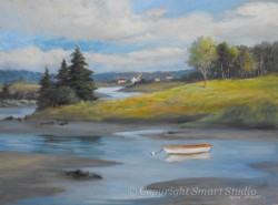 """Rowboat, Bernard by Wini Smart  18""""x24"""" Oil $2200  + tax and S&H"""