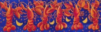 Six Dancing Lobsters  by Gail Cleveland | Original Acrylic 12x36 $950