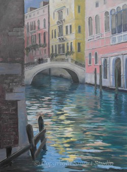 """Venice Reflections by Wini Smart 30""""x40"""" Oil, $4200 + tax and S&H"""