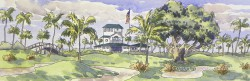 The Clubhouse by Gail Cleveland Image 6×18 Frame 13×25 $950.00 + S&H