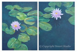 Water Lilies by Gail Cleveland | Acrylic Diptych 40x60in $8500