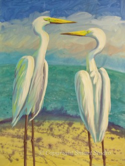 Two White Herons by Gail Cleveland